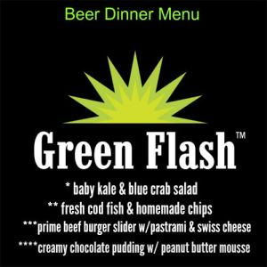 Del Frisco's Green Flash Beer Dinner Menu