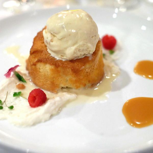 Warm Milk Cake, Macadamia Nut ice cream, Bourbon Dulce de Leche by Anthony Lamas | Shescookin.com
