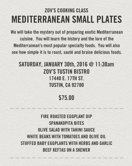 Zov's Mediterranean Cooking Class