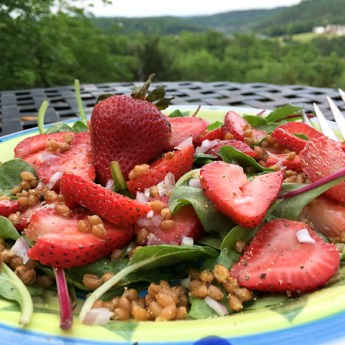 Hello Summer! Strawberry Power Salad with Wheat Berries