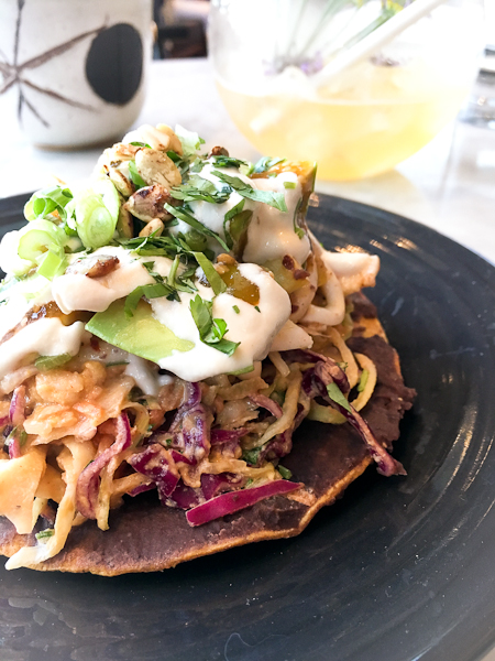 Coconut Ceviche Tostada - Cafe Gratitude, Newport Beach | ShesCookin.com