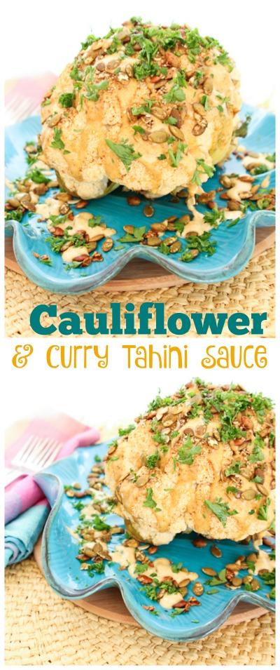 Whole Roasted Cauliflower, Pumpkin Seeds & Curry Tahini Sauce | ShesCookin.com