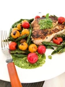 Seared Albacore with Avocado Micro Basil Pesto | ShesCookin.com