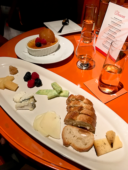 Artisanal cheese plate and champagne, Orange Hill Restaurant