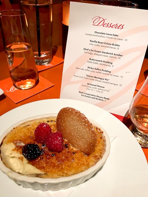 Desserts at Orange Hill restaurant