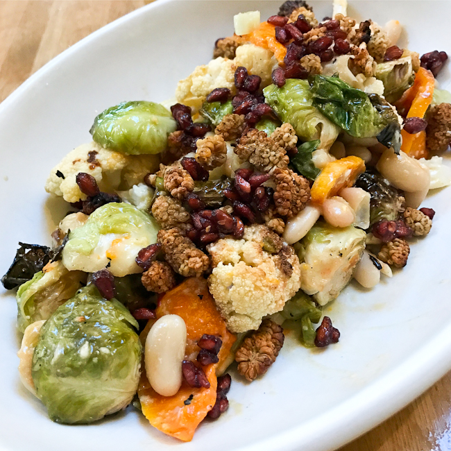 Seasonal Ingredient Salad: Roasted Brussels Sprouts, Cauliflower, Butternut squash, Cannellini beans, toasted mulberries and dried pomegranate.