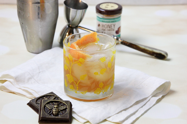 Brown Derby Cocktail with Savannah Bee Honey syrup