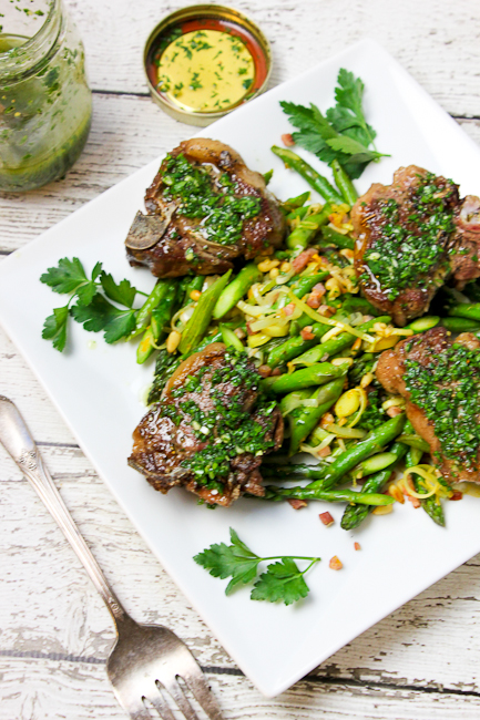 Lamb Loin Chops with Chimichurri Sauce and Absurdly Addictive Asparagus