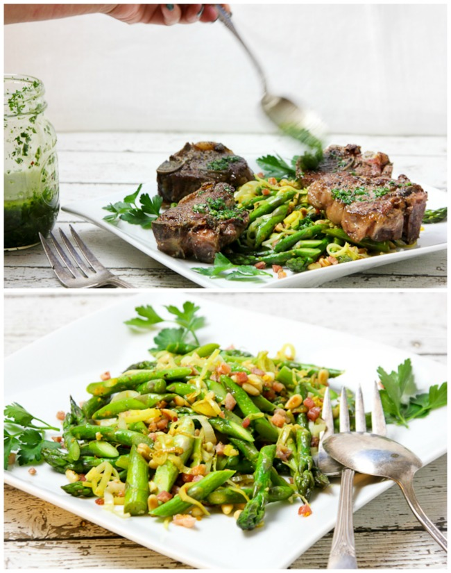 Lamb Loin Chops with Chimichurri Sauce and Addictive Asparagus ShesCookin.com