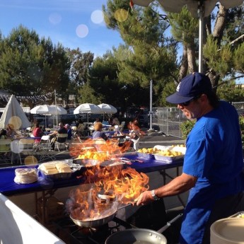 Greek Festival - making saganaki
