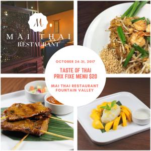 Taste of Thai special prix fixe dinner, Mai Thai Restaurant