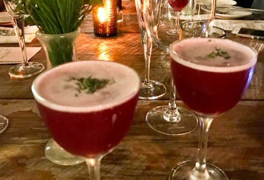 """Holiday table with """"Momma Needs Another Drink"""" cocktail, Farmhouse at Rogers Gardens 