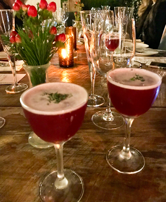 "Holiday table with ""Momma Needs Another Drink"" cocktail, Farmhouse at Rogers Gardens 