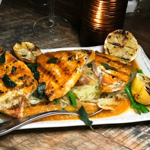 Curried Swordfish, Farmhouse at Rogers Gardens | ShesCookin.com