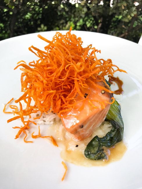Salmon with Bok Choy, Spaghettini Seal Beach | ShesCookin.com