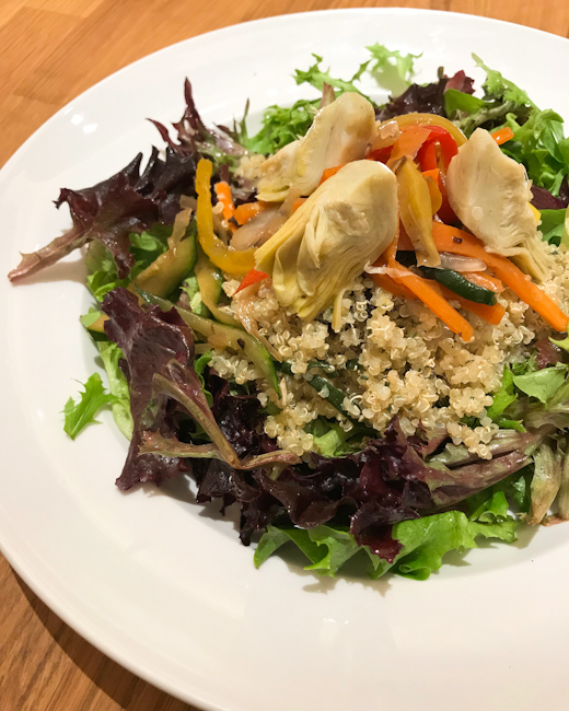 Quinoa, mixed greens and vegetables, artichokes | ShesCookin.com