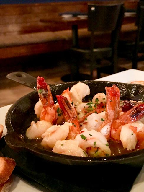 Cast Iron Tiger Shrimp, SeaLegs Wine Bar | ShesCookin.com