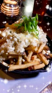 Stinky Fries - hand cut fries, truffle oil infused béchamel, blue and white cheddar cheese