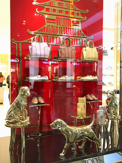 South Coast Plaza designer boutiques decorated for Year of the Dog