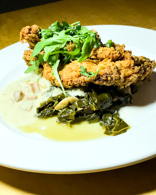 Fried Chicken, collard greens, mashed potatoes, Memphis Cafe