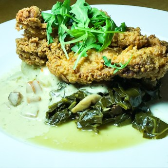 Fried Chicken with mashed potatoes and collard greens, Memphis Cafe, Costa Mesa