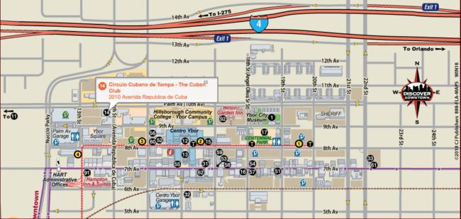 Map of Ybor City, Tampa historic Latin quarter