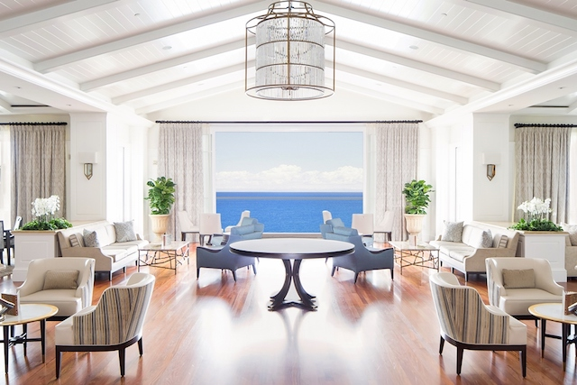 Coastal Craftsman style furnishings and soft white paint frame the ocean view in the Lobby Lounge, Montage Laguna Beach