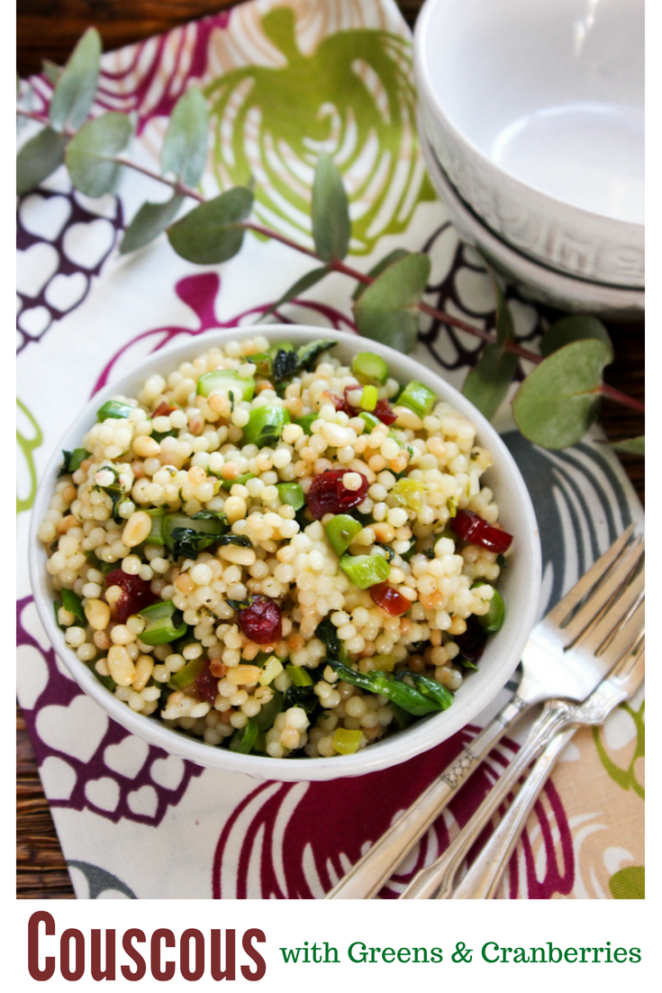 Tired of potato and pasta salad? Change things up with this deliciously healthy Pearl Couscous salad with Greens and Cranberries. #salads #healthysalads #summersalads #couscous