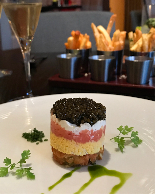 Caviar parfait at Bourbon Steak, Orange County