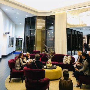 Plush purple seating area in the lobby, Avenue of the Arts Hotel