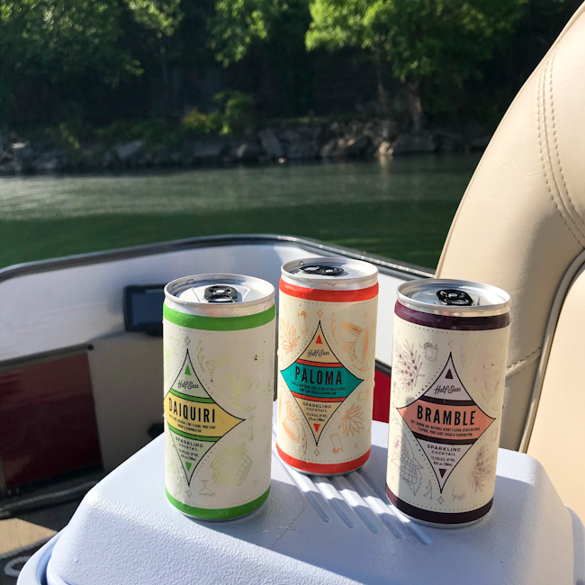 Half Seas cocktails in a can
