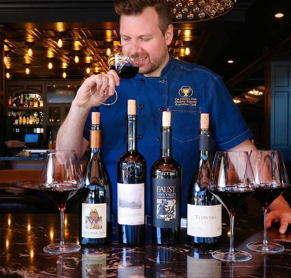 Chef Zach Scherer tasting Quintessa wines