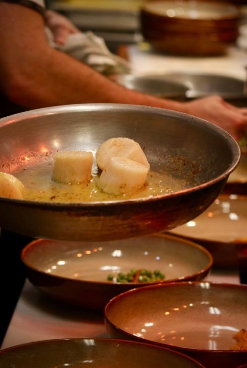 seared scallops in a skillet ready for plating