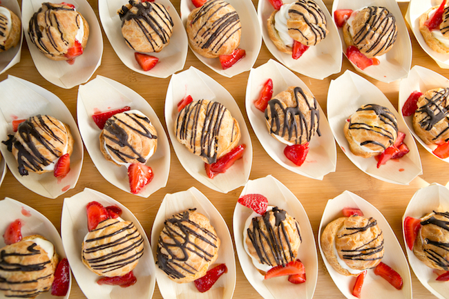 Cream Puffs with Strawberries by Island Hotel Coastal Catering