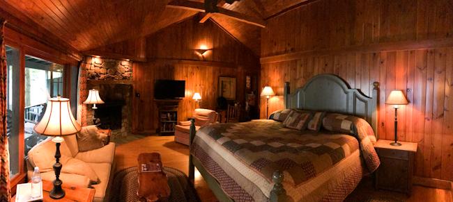 Cozy cottage interior at Migis Lodge.