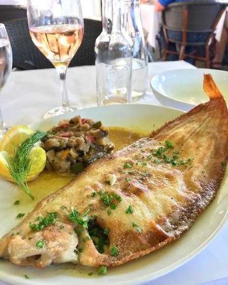 Sole Meunière with ratatouille in Honfleur.