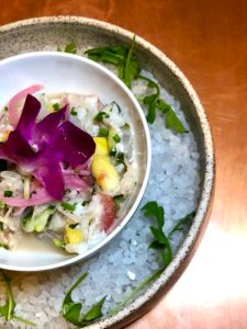 Lionfish ceviche with orchid at Catch 27, St. Augustine