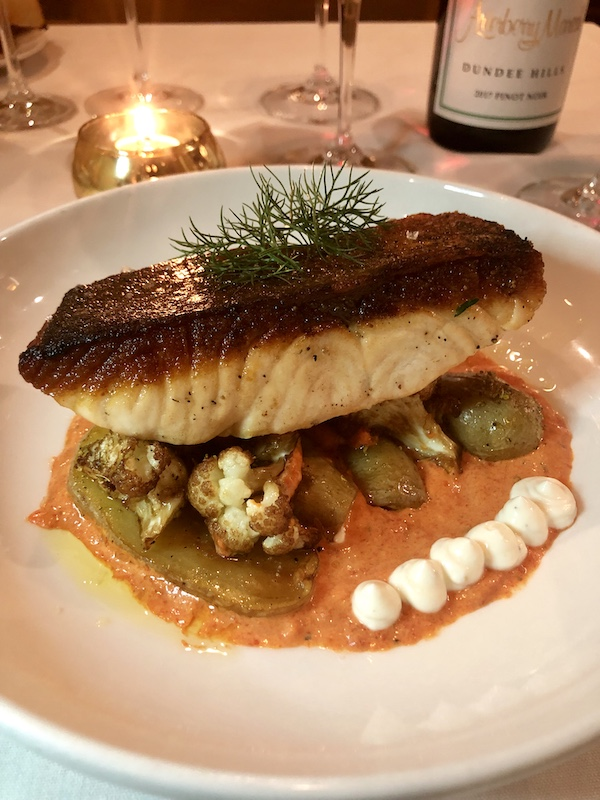 Skuna Bay Salmon, fingerling potatoes, grilled cauliflower, romesco, creme fraiche