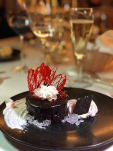 Vegan chocolate dessert at Basin Harbor in Maine