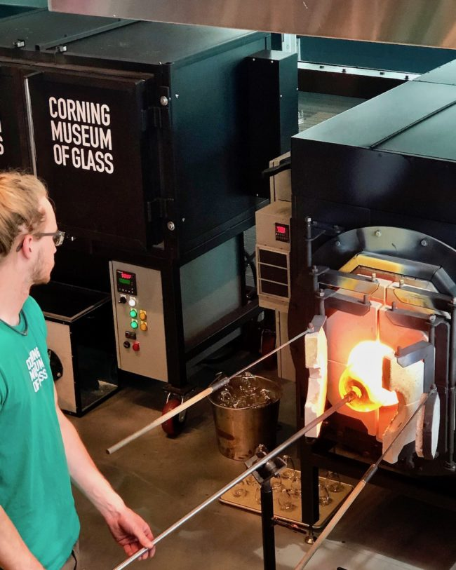 what to do in the Finger Lakes, glass blowing demonstration, Corning Museum of Glass