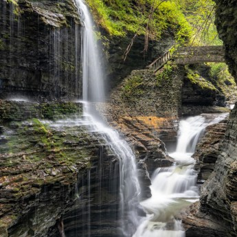 waterfalls in the finger lakes region, Rainbow Falls, Watkins Glen State Park, New York