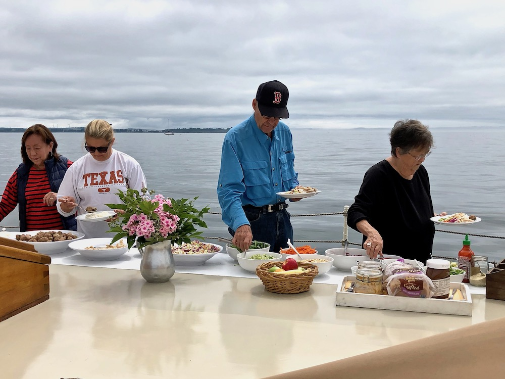breakfast on the deck of J.&E. Riggin