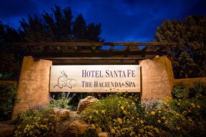 Entrance to Hotel Santa Fe at night