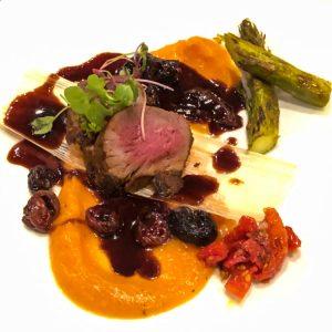 Elk tenderloin with chokecherry sauce at Amaya restaurant, Hotel Santa Fe