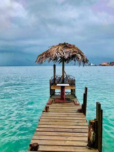 Dock with palm thatch cover on Bocas del Toro