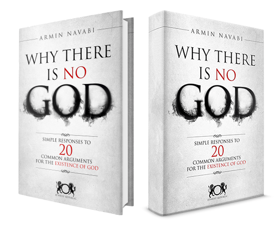 long-looking mockups of Why There is No God from the Atheist Republic website