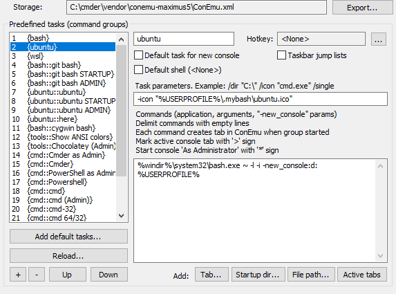 Image of cmder settings to open WSL from the context menu