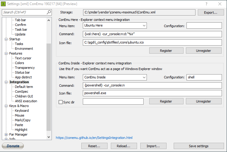 A screenshot of my cmder settings to open WSL in a specific directory from the context menu