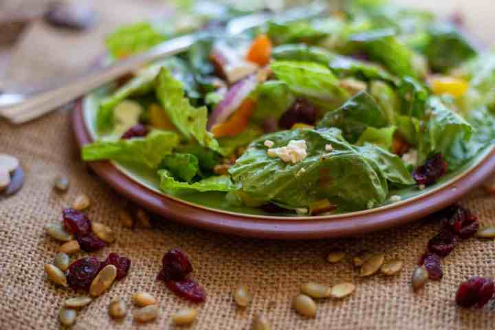 the salad on pgreen plate with fork and dried cranberries, pumpkins seeds scattered around the plate.