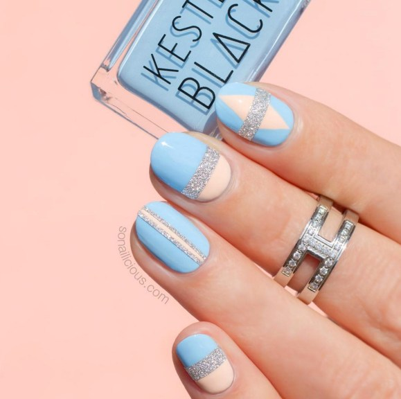 Gel Nail Designs and More: Blue Pink Silver Glitter Nail Art